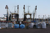 Fishing trawlers in the harbour — Foto Stock