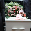 White coffin in a grey hearse — Stock Photo #6582417