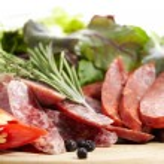 Traditional Italian chorizo smoked sausage salchichon — Stock Photo