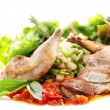 Roasted Pheasant with Tomatoes Sauce — Stock Photo