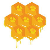 Orange background about honeycombs. Vector — Stock Vector