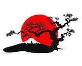 The Japanese landscape silhouette vector — Stock Vector