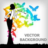 Vector vintage retro woman — Stock Vector