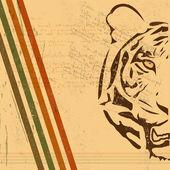 Vintage papier achtergrond met tiger verbrand papier — Stockvector