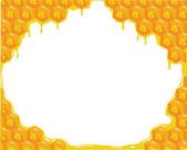 Orange background about honeycombs. Vector — Stock vektor