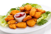 Fried chicken nuggets — Stock Photo
