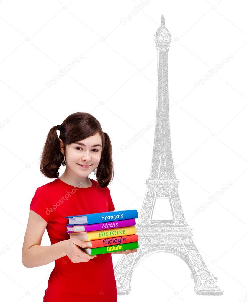 Student holding book standing isolated on white background — Stock Photo #5554773