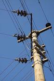 Albero di elettricità con cavi per molti — Foto Stock