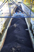 Coal on barge — Stock Photo