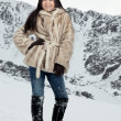The beautiful girl on snow — Stock Photo