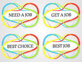 Abstract job stickers — Stock Vector