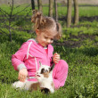 Little goat pet and child — Stock Photo #5413269