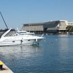 Harbor with yacht — Stock Photo #6102785