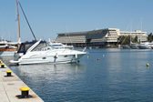 Harbor with yacht — Stock Photo