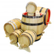 Wooden barrels isolated on white — Stock Photo