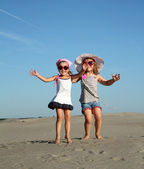 Two little girl jumping — Stock Photo