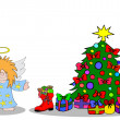 Angel with christmastree — Stock Photo