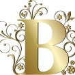 Stock Vector: Capital letter B gold
