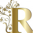 Stock Vector: Capital letter R gold