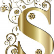 Capital letter S gold — Stockvector #6058391