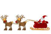 Santa Claus with sleigh — Stock Vector