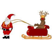 Weihnachtsmann mit schlitten — Stockvektor