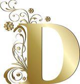 Capital letter D gold — Stock Vector