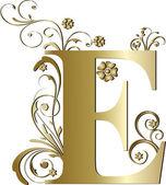 Capital letter E gold — Stock Vector