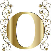 Capital letter O gold — Vector de stock