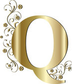 Capital letter Q gold — Stock Vector