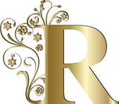 Capital letter R gold — Stock Vector