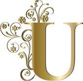 Capital letter U gold — Stockvektor
