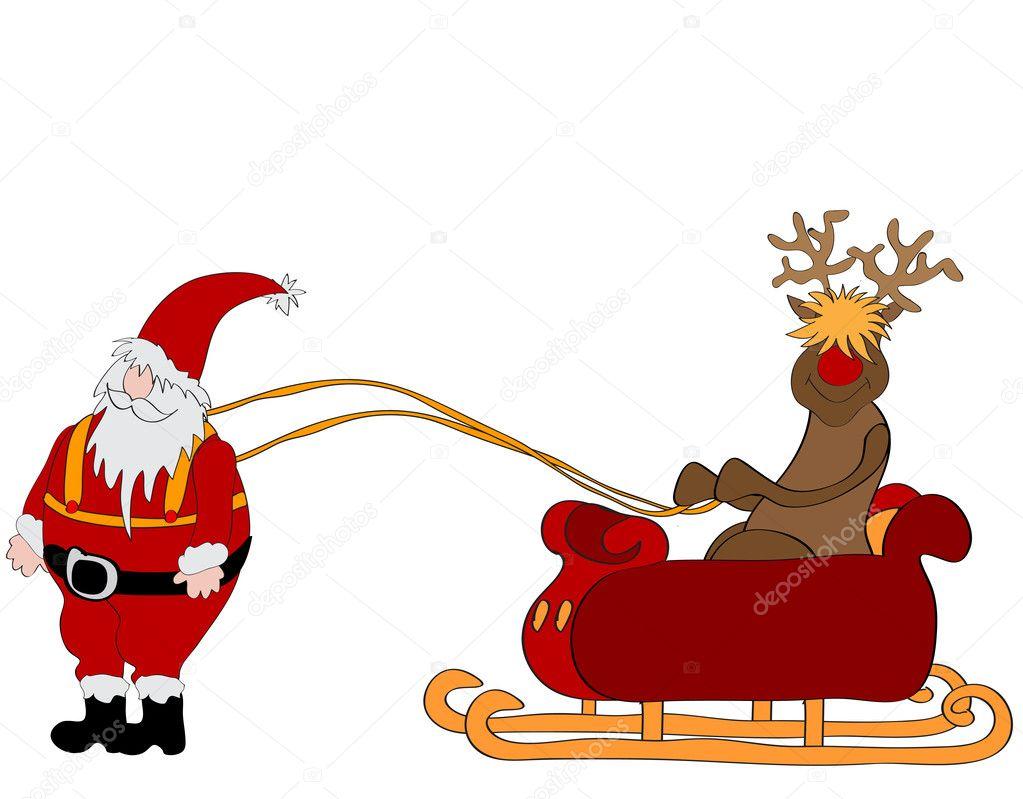 Santa claus with sleigh clipart
