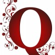 Stock Vector: Capital letter Q red