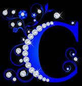 Capital letter C blue — Stock Vector