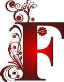 Bokstav f röd — Stockvektor