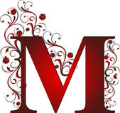 Capital letter M red — Stock Vector