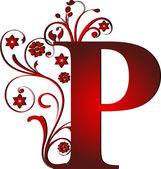 Capital letter P red — Stock Vector