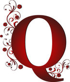 Capital letter Q red — Stock Vector