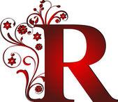 Hoofdletter r rood — Stockvector