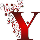 Capital letter Y red — Stock Vector