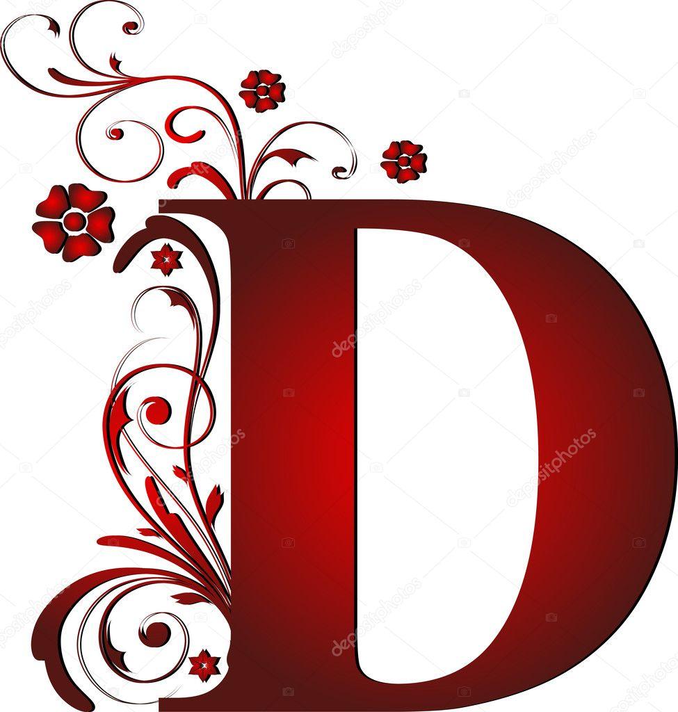 Wielka litera d czerwony — Wektor stockowy  #6072103