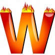 Letter W on Fire — Stockfoto