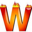 Letter W on Fire — Foto de Stock