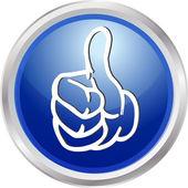 3d 按钮拇指向上 — 图库照片