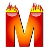 Lettera m in fiamme — Foto Stock