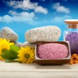 Bath salt, flowers and stones - Stock Photo