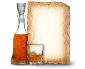 Whisky decanter, glass and blank card — Stock Photo