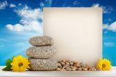 夏天背景-蓝蓝的天空背景上的空白卡 — 图库照片