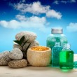 Spa and aromatherapy - oils and bath salt - Stock Photo